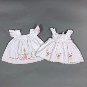 Vintage 80s set of 2 baby girl pinafores